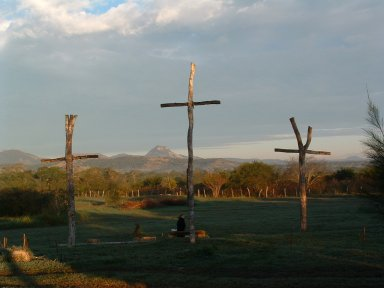 Day's end at The Way of the Cross basecamp in Aldama, Mexico